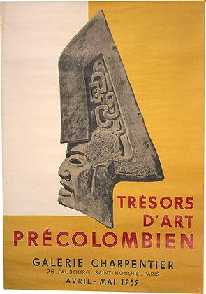 Affiche TRESORS d'ART PRECOLOMBIEN - Galerie CHARPENTIER 1959