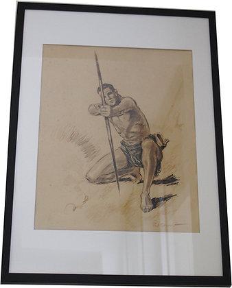"""Lithographie par Paul ORDNER - Série """"Les Archers"""" - c.1930"""