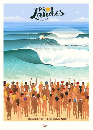 """Affiche CLAVE Illustration """"Les Landes les culs nus"""""""