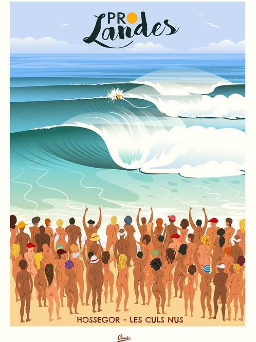 """Affiche encadrée CLAVE Illustration """"Les Landes les culs nus"""""""