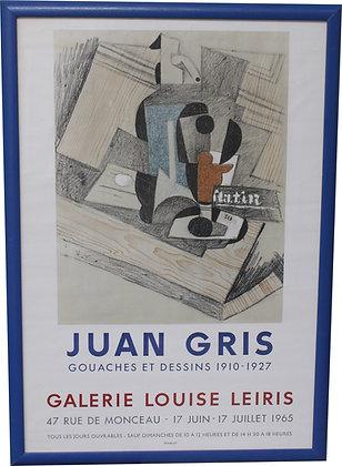 "Affiche Juan GRIS ""Gouaches et dessins"" Galerie Leiris 1965"