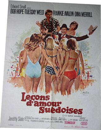 """Affiche SURF Rock'n'Roll """"Lecons d'amour suedoises"""" avec Frankie AVALON - 1965"""