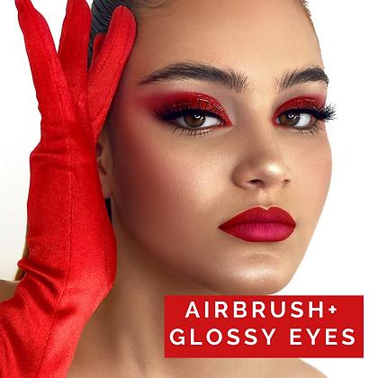 Glass skin, airbrush + glossy eyes