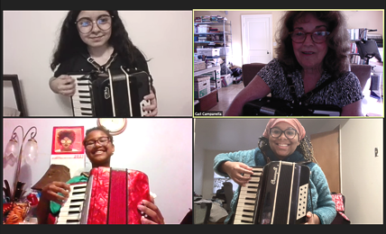 STEM students examine accordions to learn about sound on Mars
