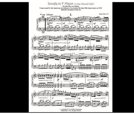 "Sheet Music - ""Sonata in F Major"" - Free Bass version by Joe Natoli"