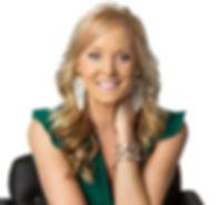 Lisa Headshot Arm on Neck Green Jumpsuit