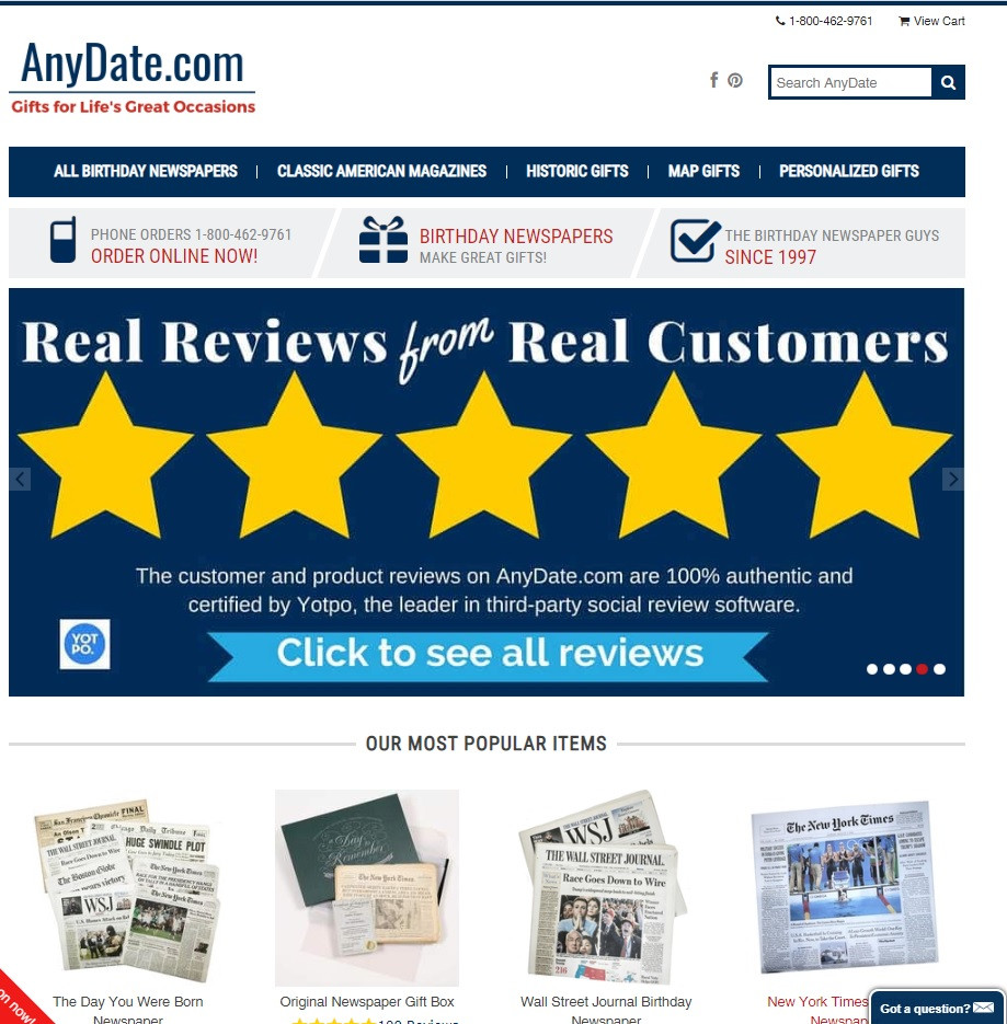 AnyDate.com - Original Birthday Newspapers