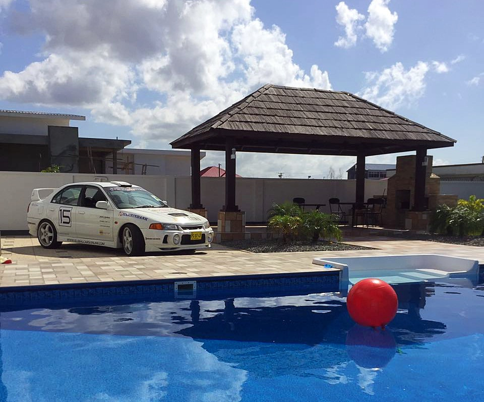 SCL Global Racing Mitsubishi Evolution IV by the pool