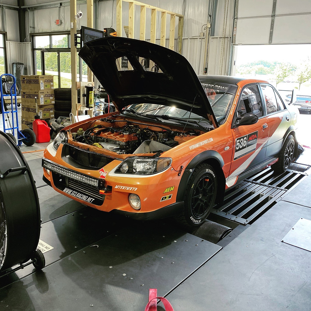 Rally Mazda protege on the dyno
