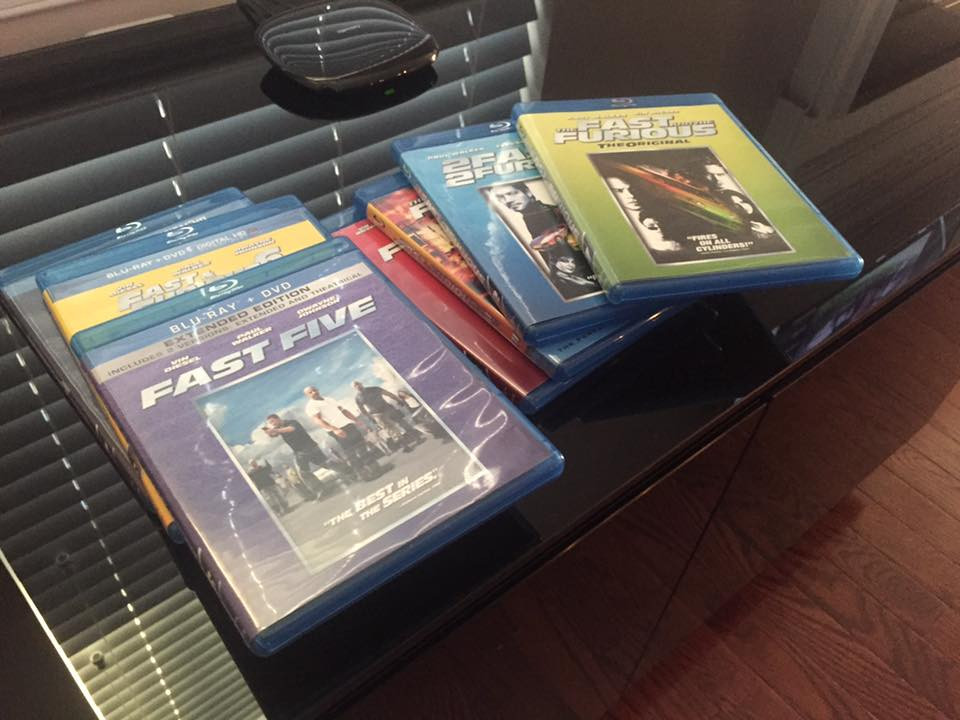 Fast and the Furious Blu Rays lined up ready to be watched