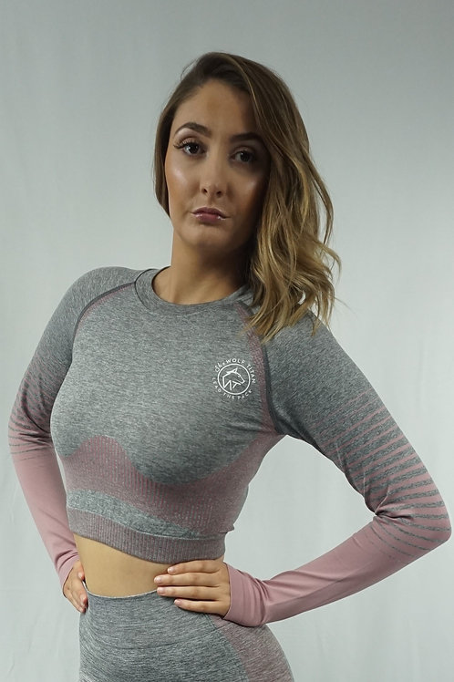 OMBRE Active Long Sleeve Top - Pink/Grey