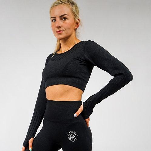 BETA Raised Seamless Long Sleeve Crop Top - Black