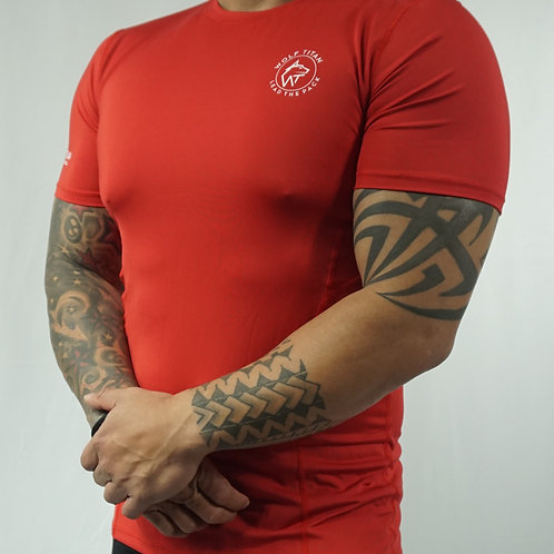 WOLF TITAN compression fitted LITE  T-Shirt - Red