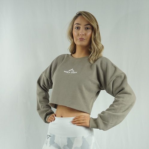 SPARTAN Extra Cosy Womens Cropped Sweater - Grey/Brown
