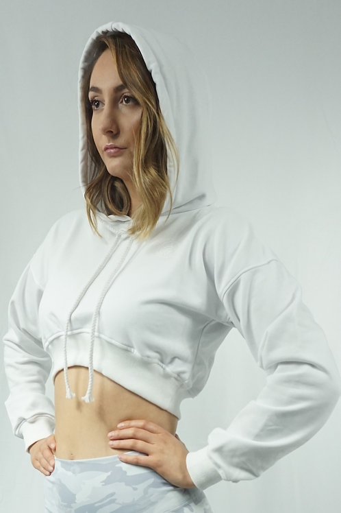 COZY Cropped Hoodie - White