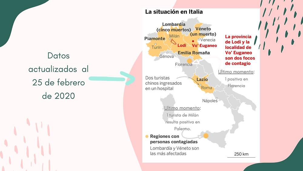 Mapa de la población infectada - Italia