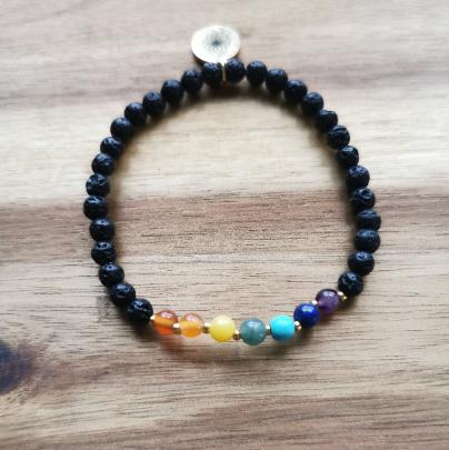 Chakra Lava Armband 4mm Perlen