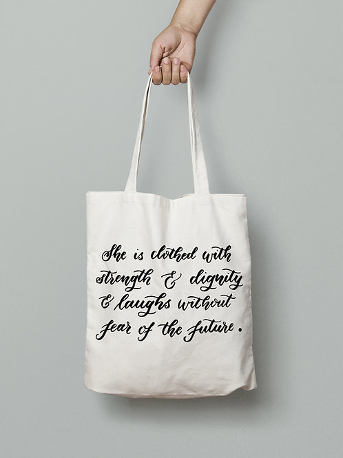 Clothed with strength quote tote