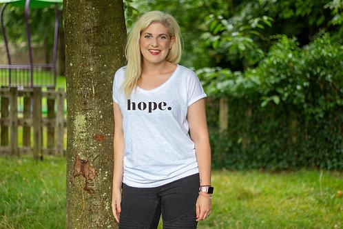 Ladies white 'hope.' tee