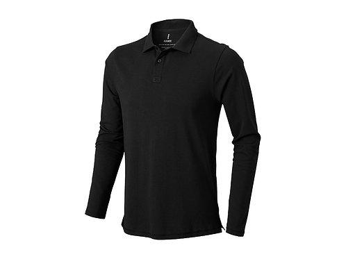 """Рубашка поло """"Oakville"""" мужская с длинным рукавом, черный"""