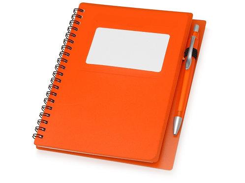 """Блокнот """"Контакт"""" с ручкой, оранжевый"""