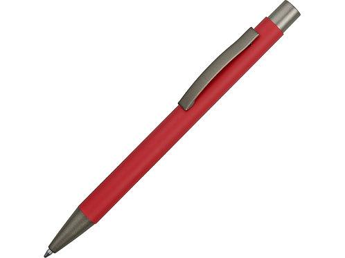 Ручка металлическая soft touch «Tender» с зеркальным слоем, красный/серый