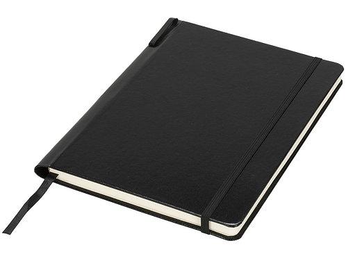 Блокнот Porta формата A5 с местом для ручки в корешке, черный