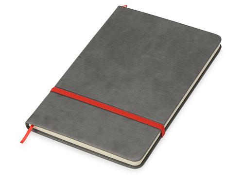Блокнот «Color» линованный А5 в твердой обложке с резинкой, серый/красный