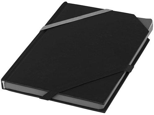 Блокнот на резинке Stripe Double, черный/серый