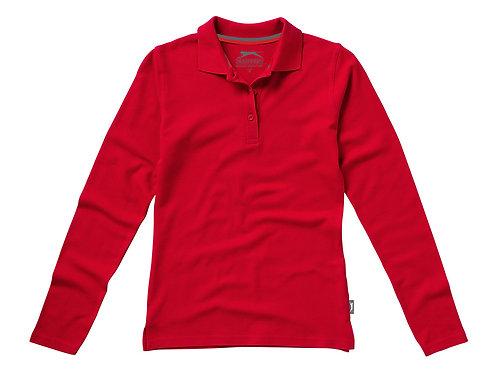 """Рубашка поло """"Point"""" женская с длинным рукавом, красный"""