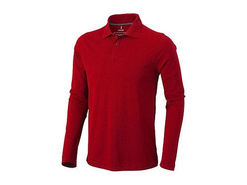 """Рубашка поло """"Oakville"""" мужская с длинным рукавом, красный"""