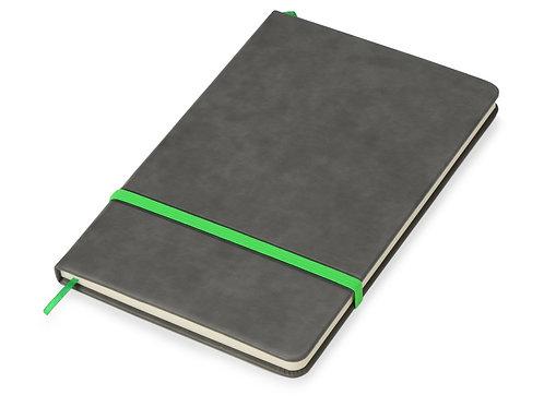 Блокнот «Color» линованный А5 в твердой обложке с резинкой, серый/зеленое яблоко