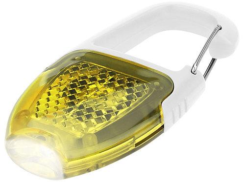 Брелок - фонарик с отражателем и карабином, желтый/белый