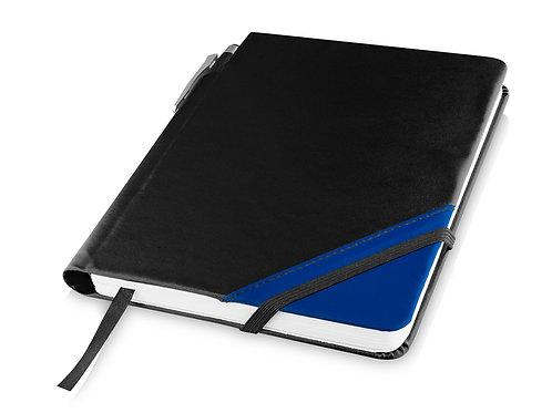 """Блокнот A6 """"Patch-the-edge"""" с шариковой ручкой, черный/ярко-синий"""