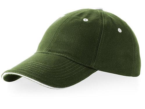 """Бейсболка """"Brent"""" типа «сэндвич», 6 панелей, зеленый армейский/белый"""