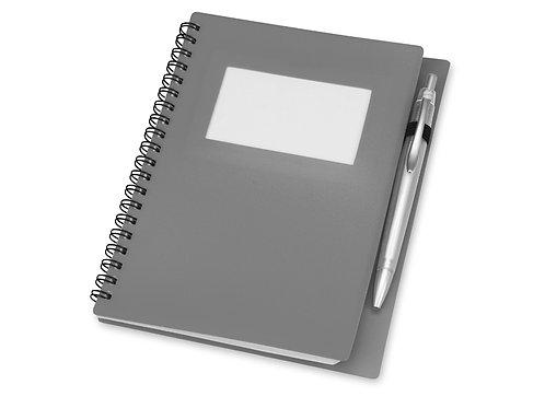 """Блокнот А5 """"Контакт"""" с ручкой, серый"""