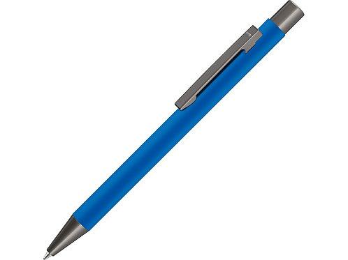 Ручка UMA «STRAIGHT GUM» soft-touch, с зеркальной гравировкой, синий