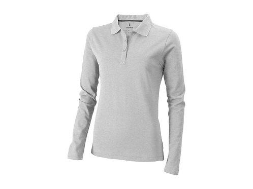 """Рубашка поло """"Oakville"""" женская с длинным рукавом, серый меланж"""