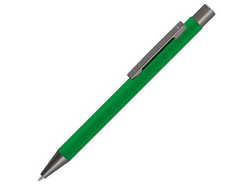 Ручка UMA «STRAIGHT GUM» soft-touch, с зеркальной грав-ой, зеленый