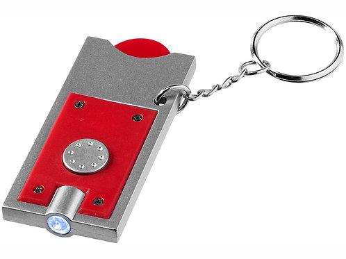 """Брелок-держатель для монет """"Allegro"""" с фонариком, красный/серебристый"""
