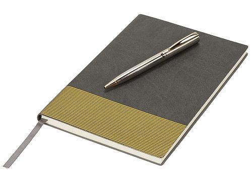Блокнот А5 «Gold lines», серый/золотистый