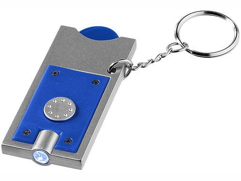 """Брелок-держатель для монет """"Allegro"""" с фонариком, ярко-синий/серебристый"""
