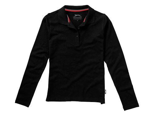 """Рубашка поло """"Point"""" женская с длинным рукавом, черный"""