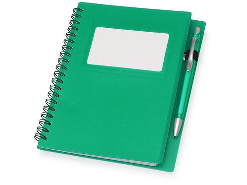"""Блокнот """"Контакт"""" с ручкой, зеленый"""
