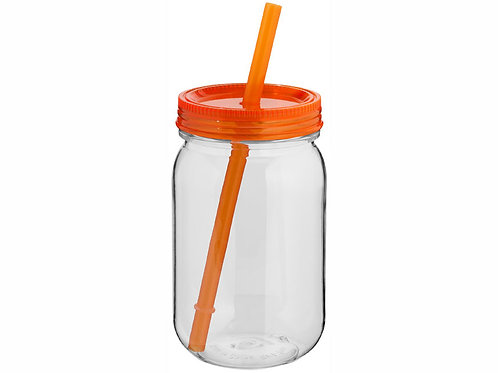 """Стакан в виде банки """"Binx"""", прозрачный/оранжевый"""
