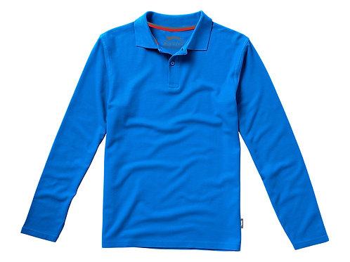 """Рубашка поло """"Point"""" мужская с длинным рукавом, небесно-голубой"""