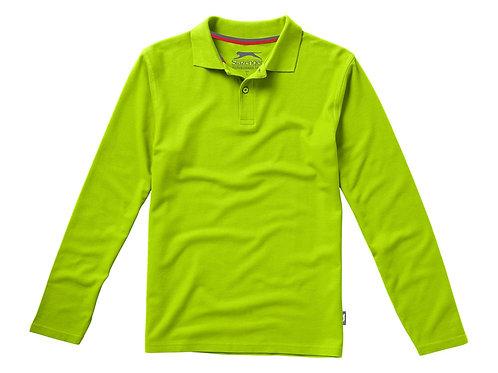 """Рубашка поло """"Point"""" мужская с длинным рукавом, зеленое яблоко"""