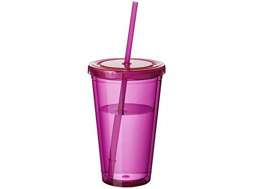 """Стакан с соломинкой """"Cyclone"""", розовый"""