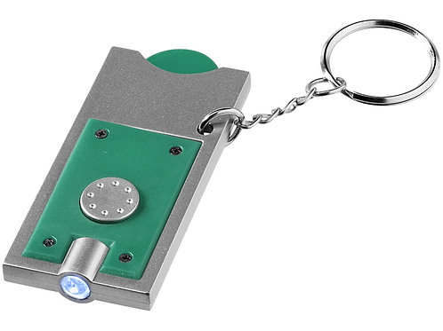"""Брелок-держатель для монет """"Allegro"""" с фонариком, зеленый/серебристый"""
