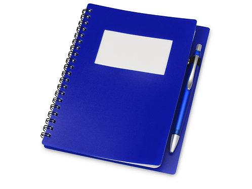 """Блокнот """"Контакт"""" с ручкой, синий"""